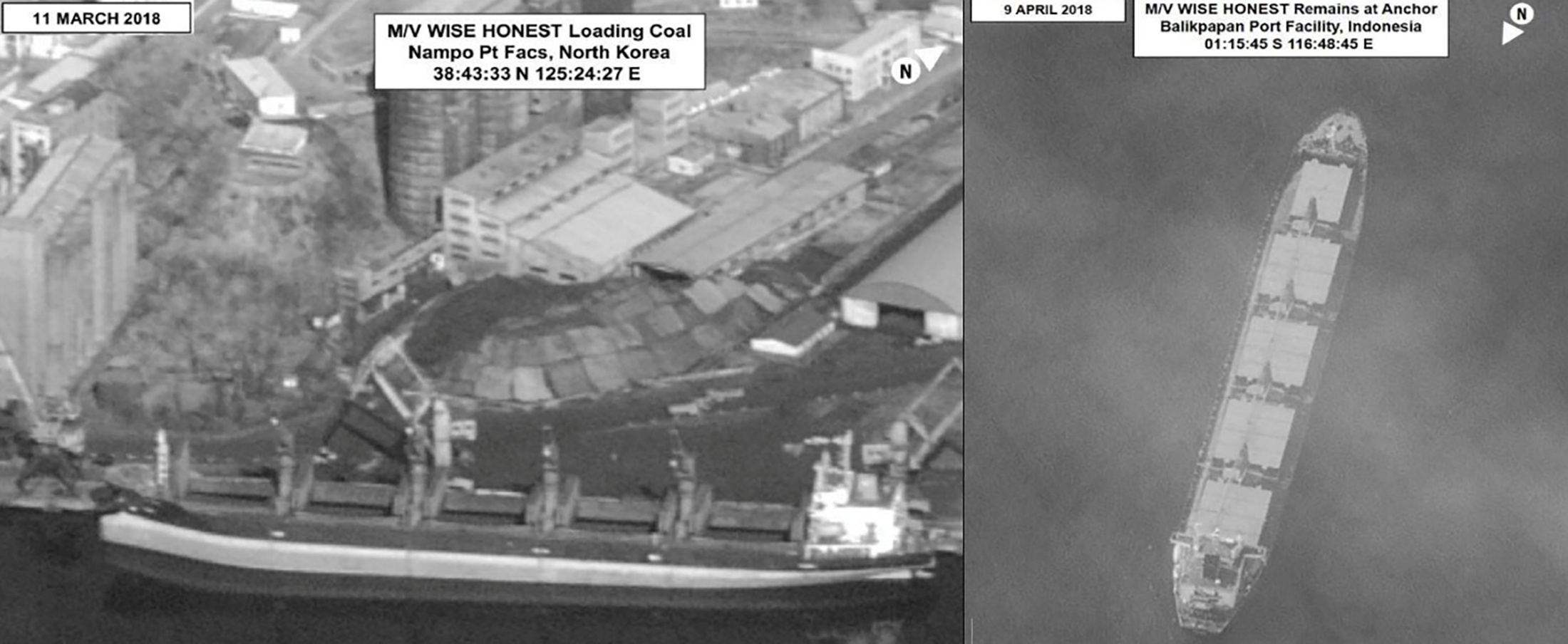 Surveillance images provided in a U.N. Security Council North Korea sanctions report show what is described as the North Korean vessel Wise Honest being loaded with coal and later in Indonesia