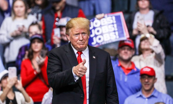 President Donald Trump at a MAGA rally in Grand Rapids, Mich., on March 28, 2019. (Charlotte Cuthbertson/The Epoch Times)