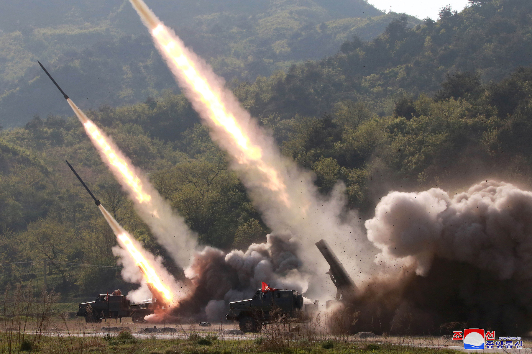 Missiles are seen launched during a military drill in North Korea