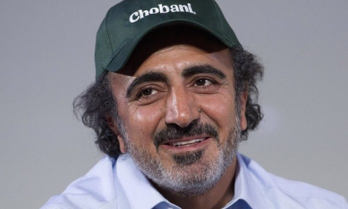 Hamdi Ulukaya, founder, chairman and CEO of Chobani, speaks at the National Retail Federation conference in N.Y., on Jan. 16, 2018. (Mark Lennihan/File Photo via AP)