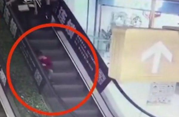 Boy finger escalator