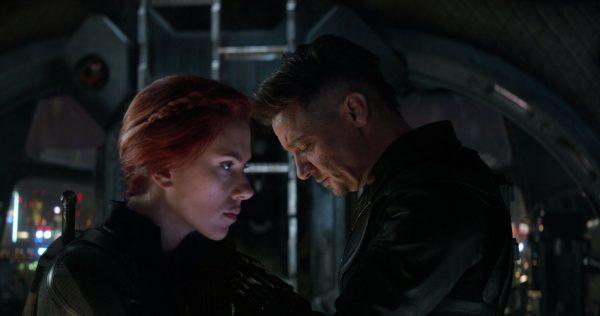 Scarlett Johansson, left, and Jeremy Renner in a scene