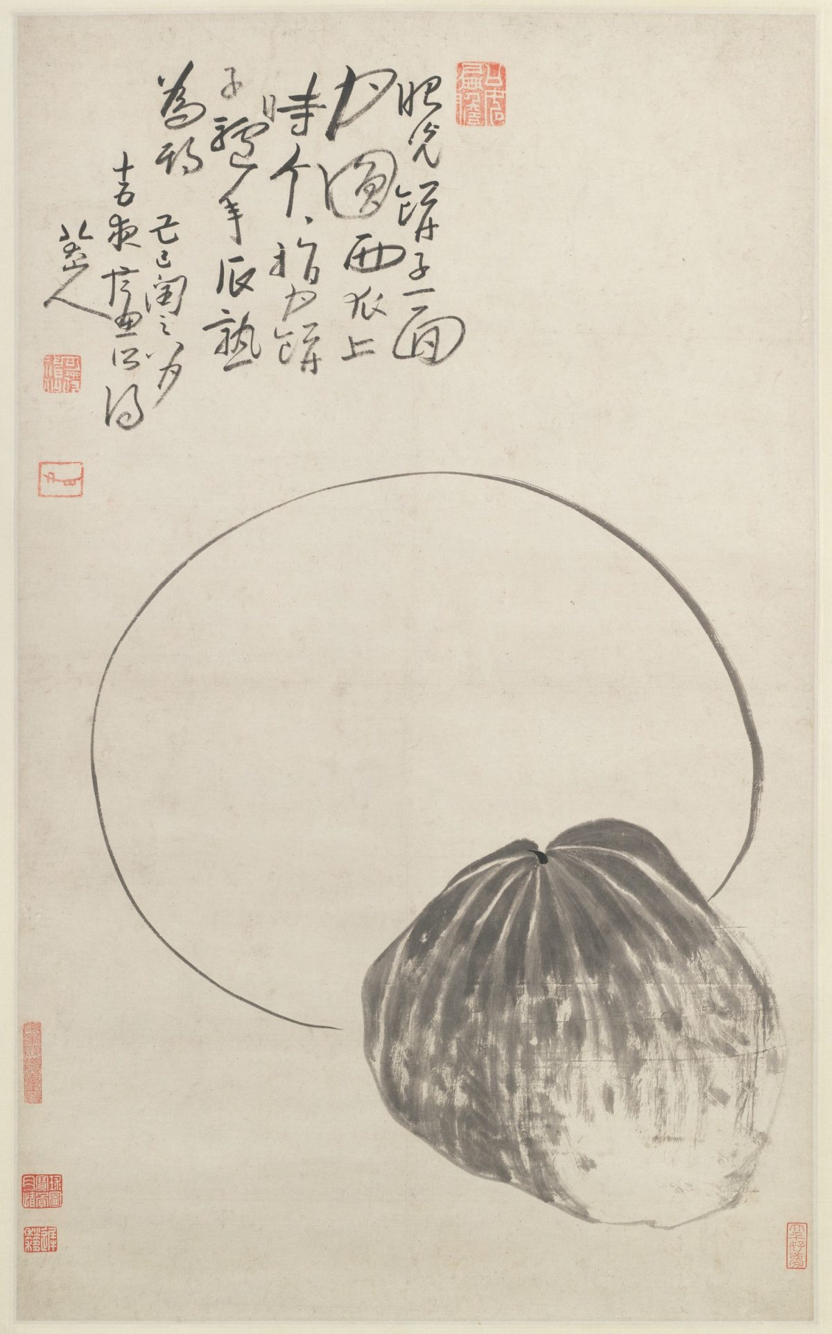 The younger brother vowed to work hard in the field in order to truly earn his melon when the time comes. (Moon and Melon; Object Number 1964.94; Harvard Art Museums/Arthur M. Sackler Museum, Gift of Earl Morse, Harvard Law School, Class of 1930; Copyright President and Fellows of Harvard College)
