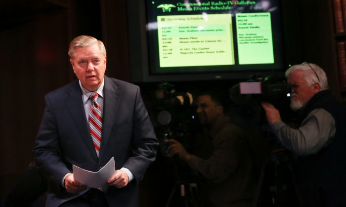 Sen. Lindsey Graham speaks to media about the Mueller report at the Capitol in Washington on March 25, 2019. (Charlotte Cuthbertson/The Epoch Times)