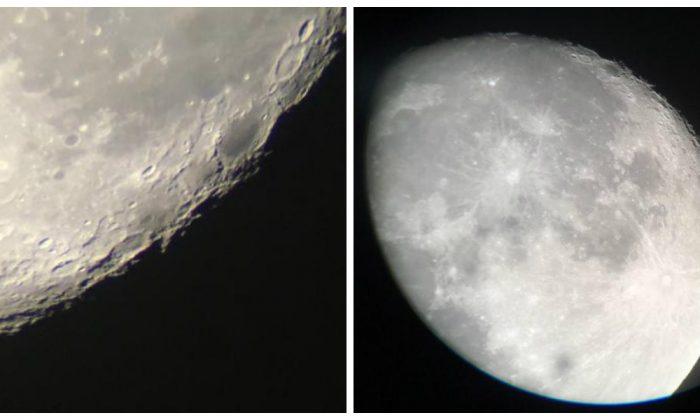 View of the moon through a telescope. (Melanie Sun/The Epoch Times)