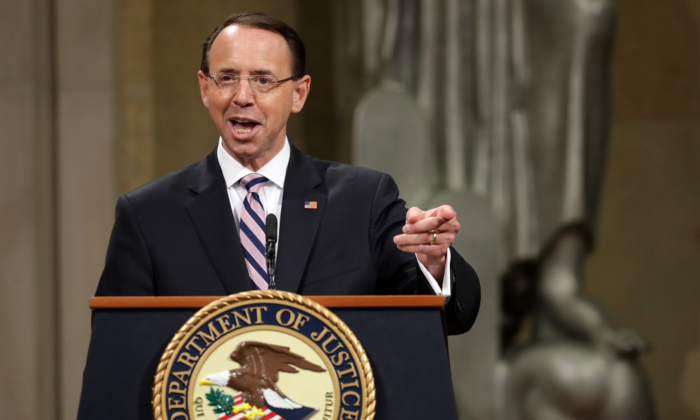 Deputy Attorney General Rod Rosenstein delivers remarks during his farewell ceremony at the Robert F. Kennedy Main Justice Building in Washington on May 9, 2019. (Chip Somodevilla/Getty Images)