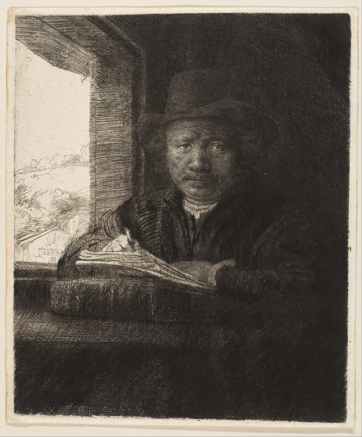 Self Portrait Etching at a Window_1648