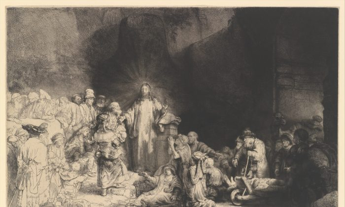 """The Hundred Guilder Print (Christ Preaching),"" circa 1649, by Rembrandt van Rijn. Etching, engraving, and drypoint; second state of two. Plate: 11 inches by 15 1/2 inches. H. O. Havemeyer Collection, bequest of Mrs. H. O. Havemeyer, 1929. (The Metropolitan Museum of Art)"