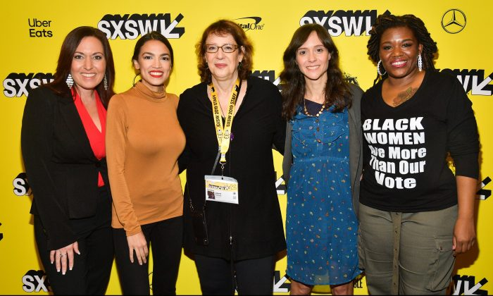 """Amy Vilela, Alexandria Ocasio-Cortez, Janet Pierson, Rachel Lears, and Cori Bush attends the """"Knock Down The House"""" Premiere  2019 SXSW Conference and Festivals at Paramount Theatre on March 10, 2019 in Austin, Texas. Matt Winkelmeyer/Getty Images for SXSW"""