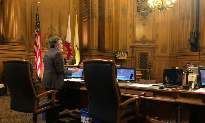 City Supervisor Aaron Peskin speaks before a vote on a surveillance technology ordinance that he sponsored, in San Francisco, Calif., on May 14, 2019. (Jeffrey Dastin/Reuters)
