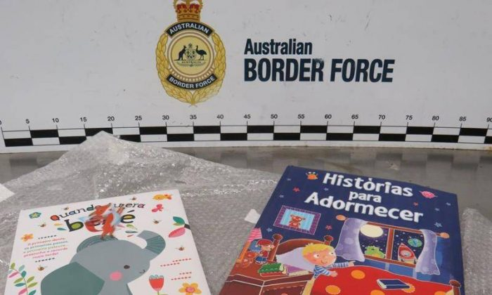 Officials have discovered more than $600,000 worth of cocaine hidden in children's books. (Australian Border Force)