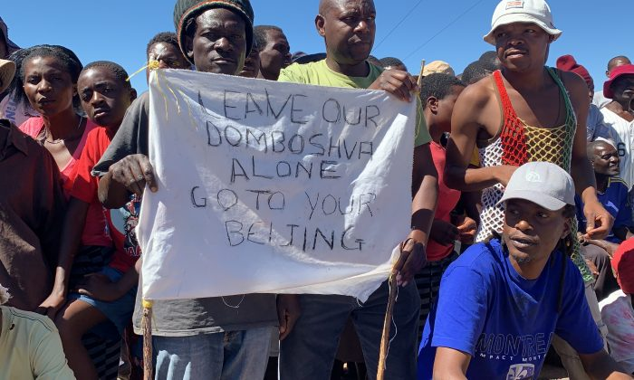 Villagers demonstrate against a Chinese company in Domboshava, Zimbabwe, on May 6, 2019. (Courtesy Columbus Mavhunga)