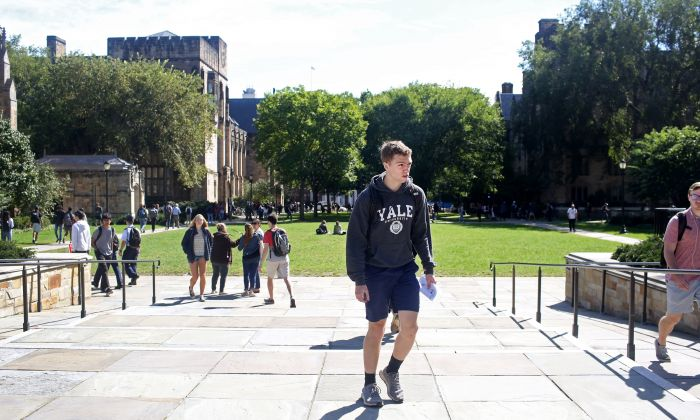 Students walk through the campus of Yale University in New Haven, Connecticut on Sept. 27, 2018. (Yana Paskova/Getty Images)