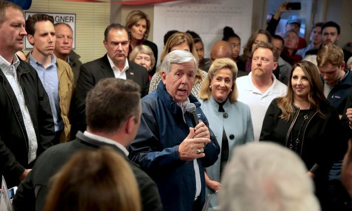 Missouri Governor Mike Parson speaks in support of Republican U.S. Senate candidate Josh Hawley during a campaign rally in St. Louis, Missouri, on Nov. 5, 2018. (Scott Olson/Getty Images)