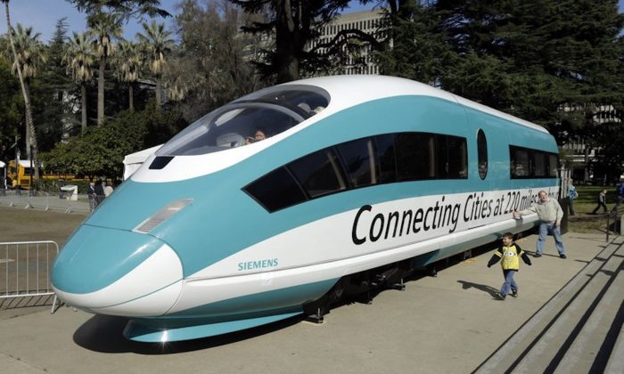 A full-scale mock-up of a high-speed train, displayed at the Capitol in Sacramento, Calif., on Feb. 26, 2015. (Rich Pedroncelli/AP Photo)