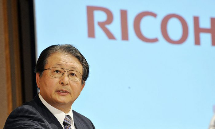 President of Japan's office machine giant Ricoh, Shiro Kondo addresses a press conference at a Tokyo hotel on Aug. 27, 2008. (Yoshikazu Tsuno/AFP/Getty Images)
