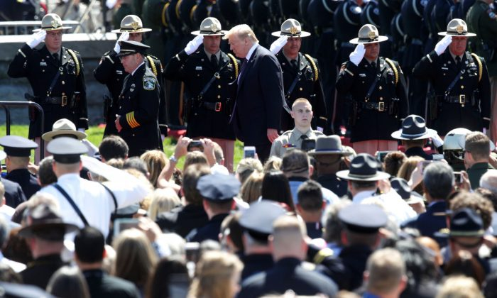 President Donald Trump arrives at the 38th Annual National Peace Officers' Memorial Service at the west front of the Capitol in Washington on May 15, 2019. (Alex Wong/Getty Images)