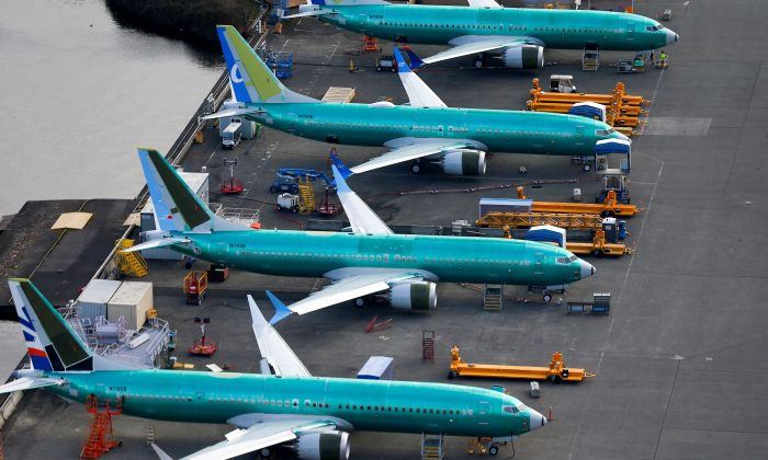 An aerial photo shows Boeing 737 MAX airplanes parked at the Boeing Factory in Renton, Washington, on March 21, 2019.  (Lindsey Wasson/Reuters)