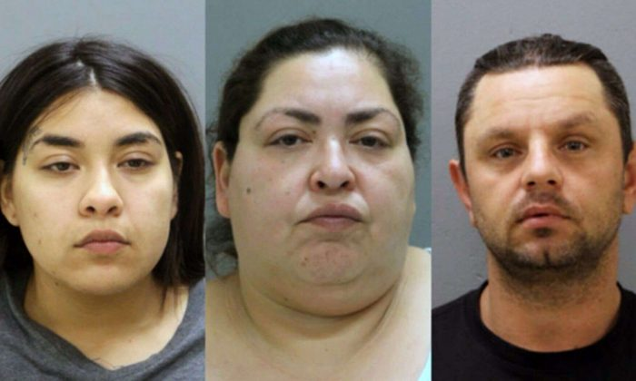Left to right: Desiree Figueroa, Clarisa Figueroa, and Piotr Bobak. The trio suspects have been arrested and charged, according to an announcement by authorities on May 16, 2019.(Chicago Police Department)