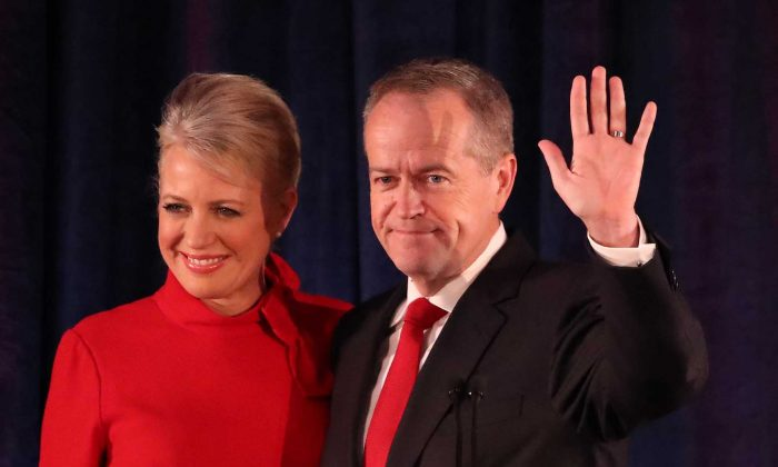 Leader of the Opposition and Leader of the Labor Party Bill Shorten, with wife Chloe Shorten, concedes defeat following the results of the Federal Election at Hyatt Place Melbourne in Melbourne, Australia, on May 18, 2019. (Scott Barbour/Getty Images)