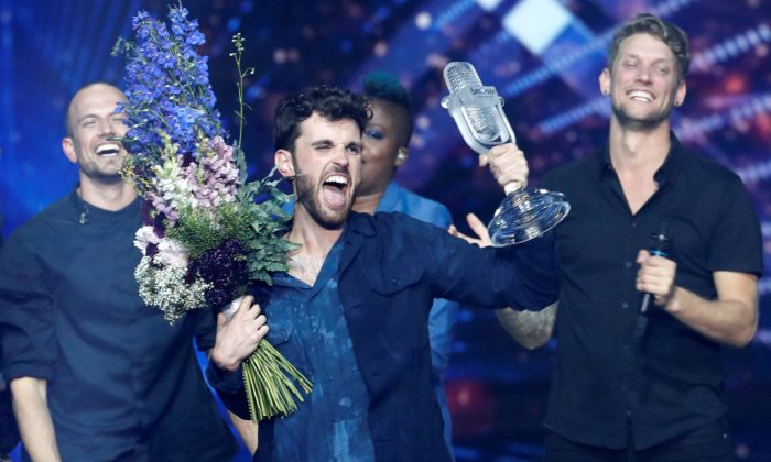 Duncan Laurence of the Netherlands reacts after winning the 2019 Eurovision Song Contest in Tel Aviv, Israel on May 19, 2019. (Ronen Zvulun/Reuters)