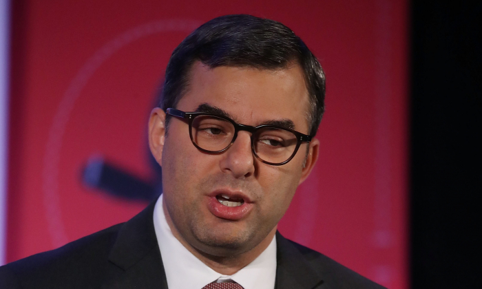 House Freedom Caucus member Rep. Justin Amash (R-Mich.) speaks during a Politico Playbook Breakfast interview, at the W Hotel in Washington on April 6, 2017. (Mark Wilson/Getty Images)
