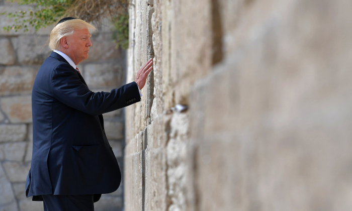 President Donald Trump visits the Western Wall on May 22, 2017, in Jerusalem's Old City. (Mandel Ngan/AFP/Getty Images)