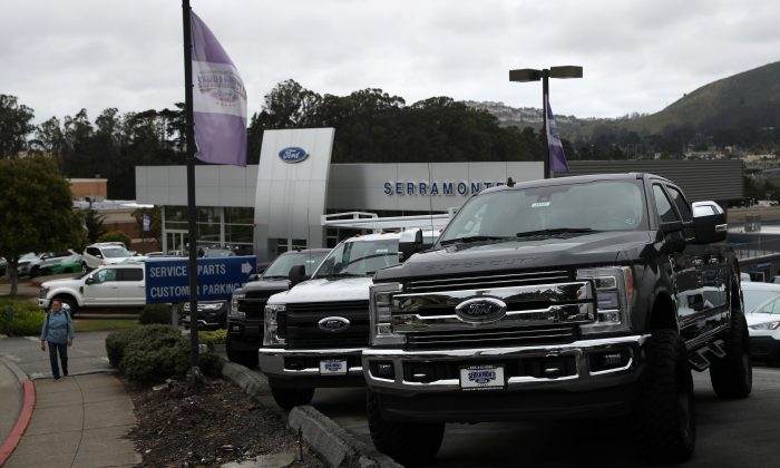 Ford cars and trucks on the sales lot at Serramonte Ford in Colma, Calif., on May 20, 2019. (Justin Sullivan/Getty Images)