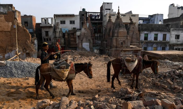 Demolished old buildings in Varanasi, India, on May 4, 2019. (Prakash Singh/AFP/Getty Images)