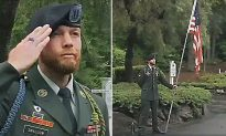 Soldier Stands in the Rain for 9 hrs to Hold American Flag That Was Knocked Down on Memorial Day