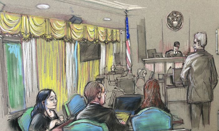 In this April 15, 2019 file court sketch, Yujing Zhang, left, a Chinese woman charged with lying to illegally enter President Donald Trump's Mar-a-Lago club, listens to a hearing Monday, April 15, 2019, before Magistrate Judge William Matthewman in West Palm Beach, Florda. (Daniel Pontet via AP, File)