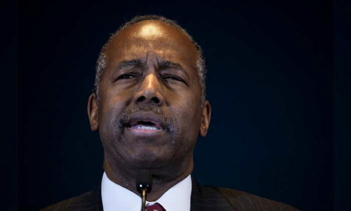 Ben Carson, Secretary of Housing and Urban Development, speaks during a press conference at the Jacob Javits Federal Building, in New York City, Jan. 31, 2019. (Drew Angerer/Getty Images)