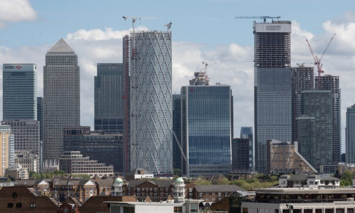 The Canary Wharf financial district is seen on April 26, 2019 in London, England. (Leon Neal/Getty Images)