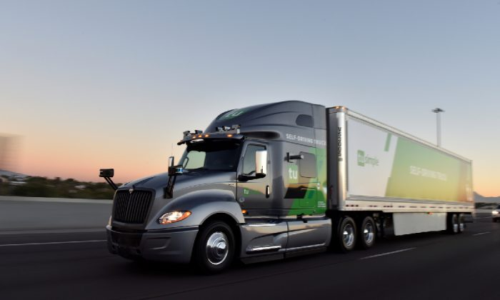 The TuSimple self-driving truck is pictured in this undated handout photo obtained by Reuters May 20, 2019. (TuSimple/Handout via Reuters)