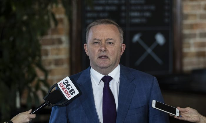 MP Anthony Albanese speaks to media during a press conference at the Unity Hall Hotel in Balmain in Sydney, Australia,  on May 19, 2019. (Brook Mitchell/Getty Images)