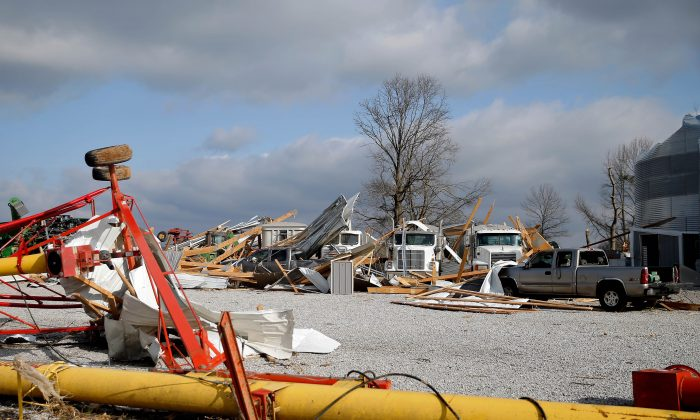 The entire barn that housed the vehicles on the Huber family's farm on route 51 was completely blown away by a tornado  in Perryville, Mo., on March 1, 2017. (Jon Durr/Getty Images)
