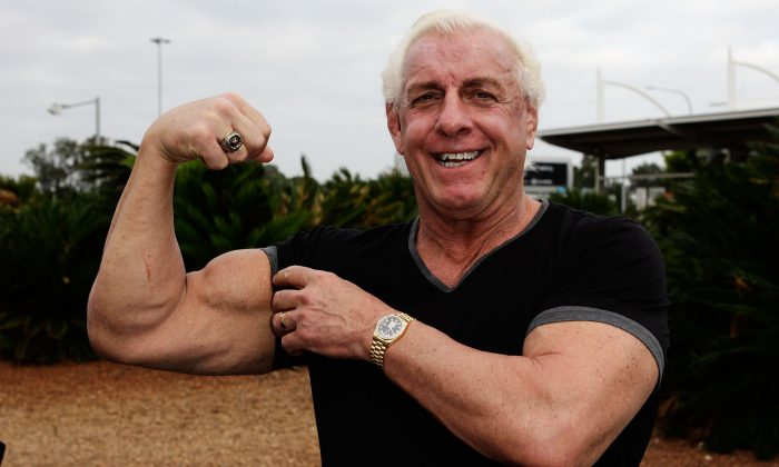 Ric Flair on the Australian Hulkamania tour at Sydney Airport in Australia, on Nov. 17, 2009. (Brendon Thorne/Getty Images)
