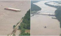 Runaway Barges Slam Into Arkansas River Dam