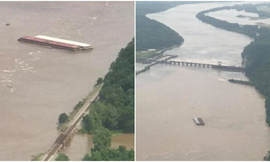 Runaway Barges Slam Into Arkansas River Dam