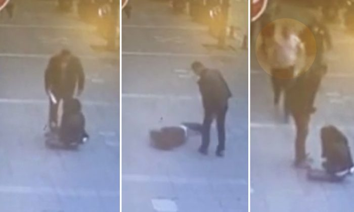 Video: Man Beating Ex-Wife on Street Knocked Down With Flying Headbutt From Stranger
