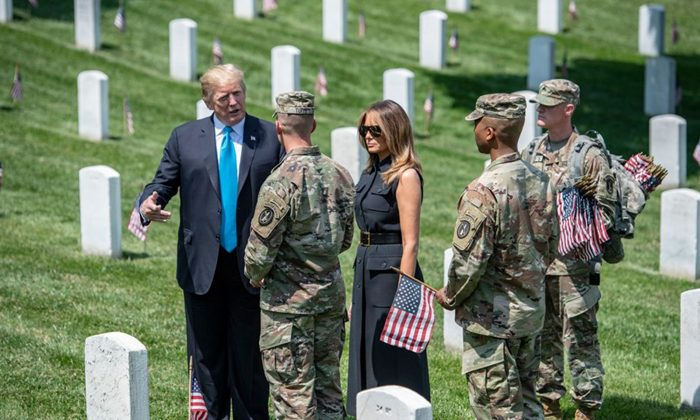 President Trump and First Lady Melania Visit Arlington Cemetery Ahead of Memorial Day