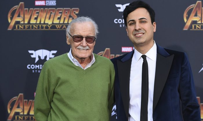 """Stan Lee (L), and Keya Morgan arrive at the world premiere of """"Avengers: Infinity War"""" in L.A., Calif., on April 23, 2018. (Jordan Strauss/Invision/File via AP)"""