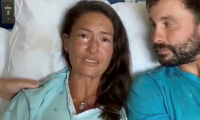 Amanda Eller, a yoga instructor who went missing for 17 days while hiking in Maui's Makawao Forest Reserve, speaks from her hospital bed after being rescued at Maui Memorial Medical Center in Hawaii, U.S., on May 25, 2019. (SARAH HAYNES - FINDAMANDA/via REUTERS)