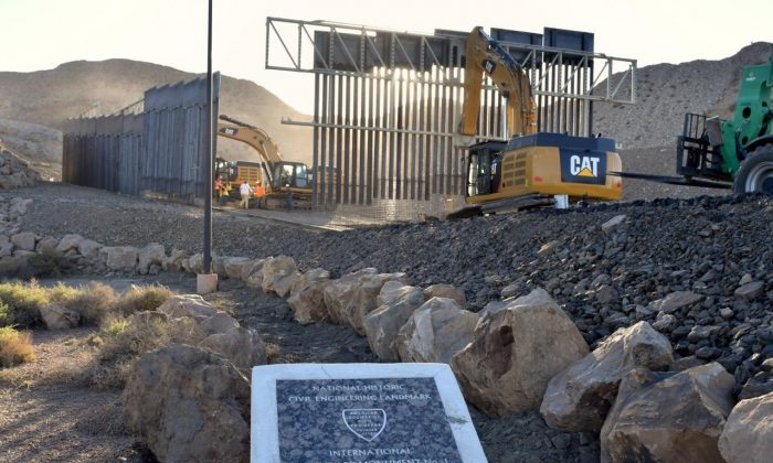 New border wall being constructed by We Build the Wall in the El Paso, Texas, metropolitan area on May 24, 2019. (Courtesy of We Build the Wall, Inc.)