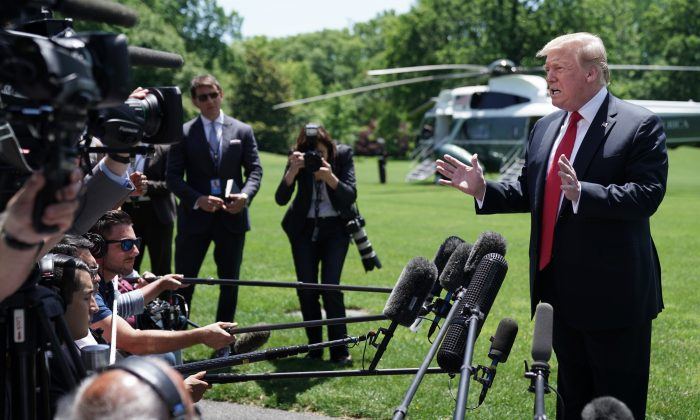 President Donald Trump talks to reporters while departing the White House May 24, 2019 in Washington. (Chip Somodevilla/Getty Images)