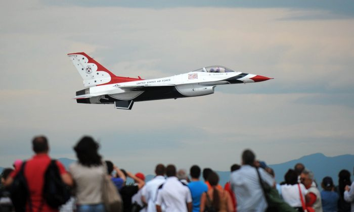 A US Air Force Thunderbirds F16 jet performs during an air show at the Graf Ignatievo air base, 140 kms east of Sofia, on June 25, 2011. (Nikolay Doychinov/AFP/Getty Images)