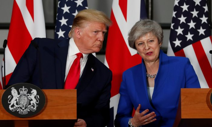 President Donald Trump and Britain's Prime Minister Theresa May hold a joint news conference in London on June 4, 2019. (Carlos Barria/Reuters)