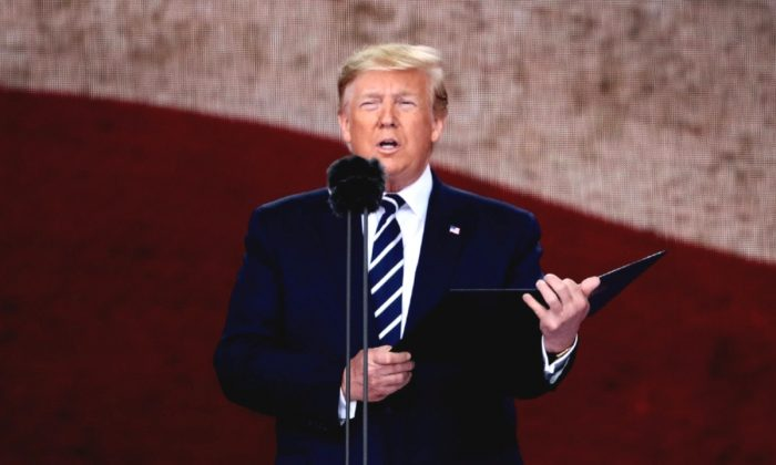 President of the United States, Donald Trump speaks during the D-Day Commemorations in Portsmouth, England, on June 5, 2019. (Dan Kitwood/Getty Images)