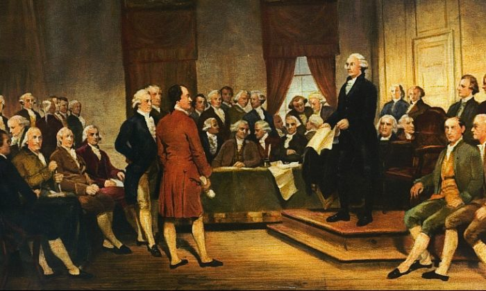 Washington at Constitutional Convention of 1787, signing of U.S. Constitution. (Public Domain)