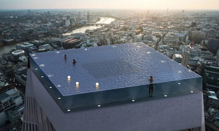 Compass Pools' rooftop infinity pool, with 360-degree views of the London skyline. (CNN)